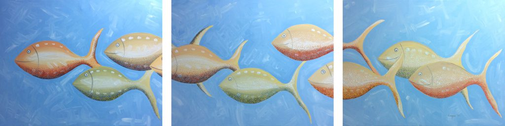 Pescados, Triptych Oil on Canvas, 90×70 cm ea